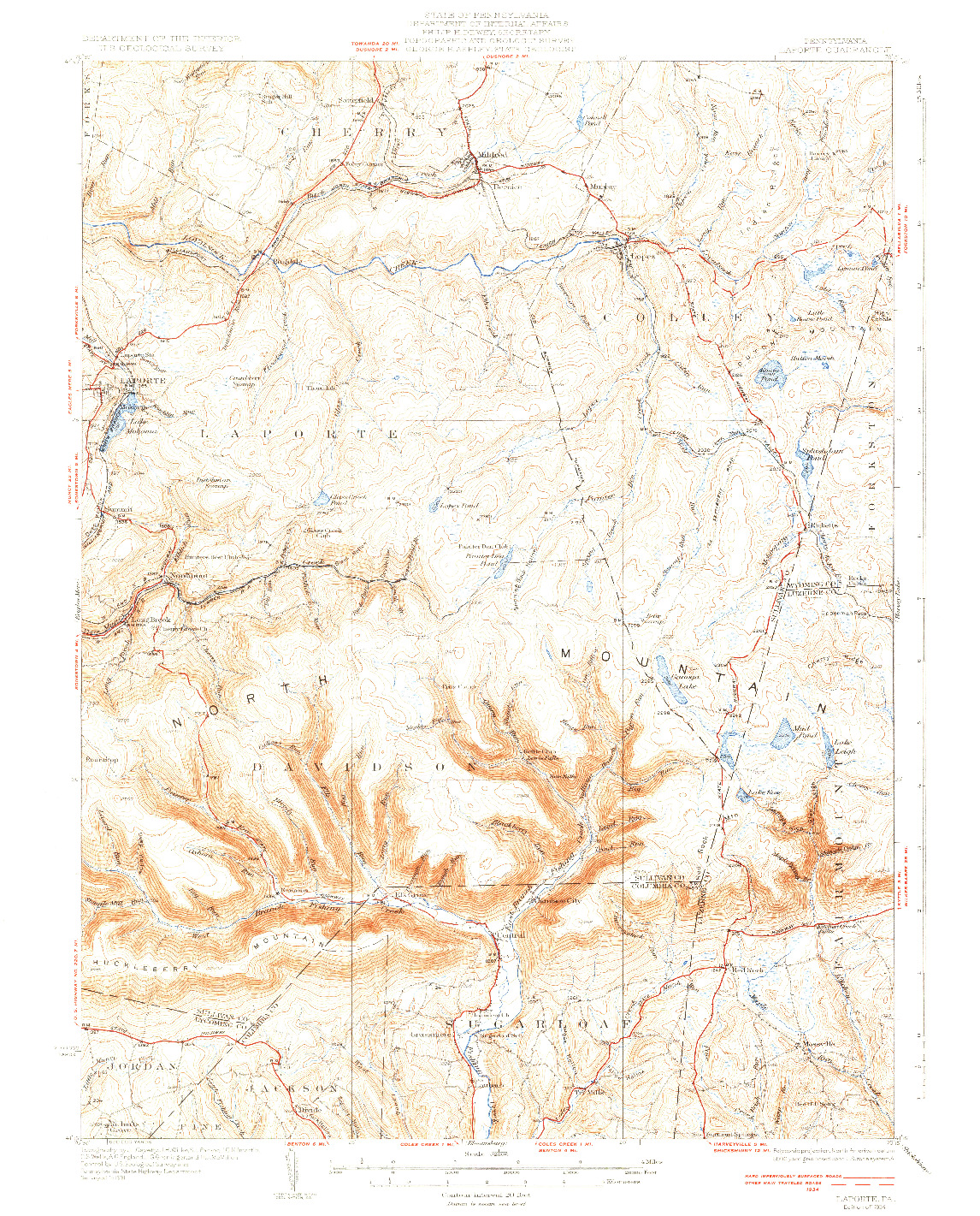 USGS 1:62500-SCALE QUADRANGLE FOR LAPORTE, PA 1934