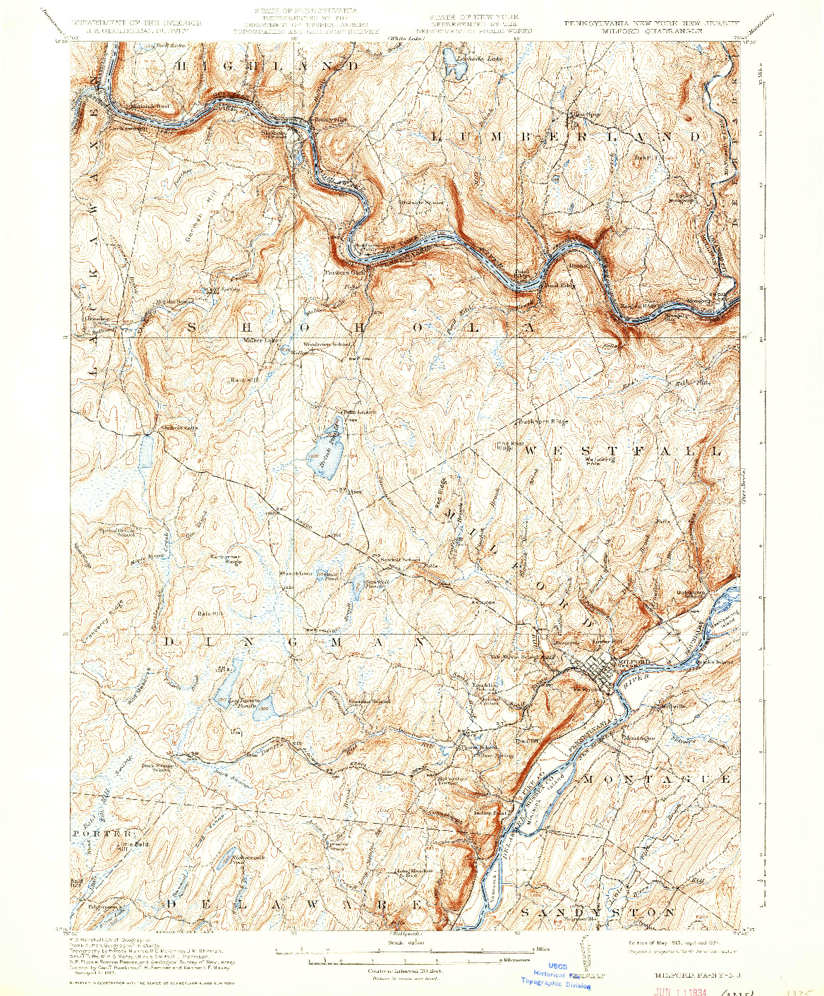 USGS 1:62500-SCALE QUADRANGLE FOR MILFORD, PA 1915