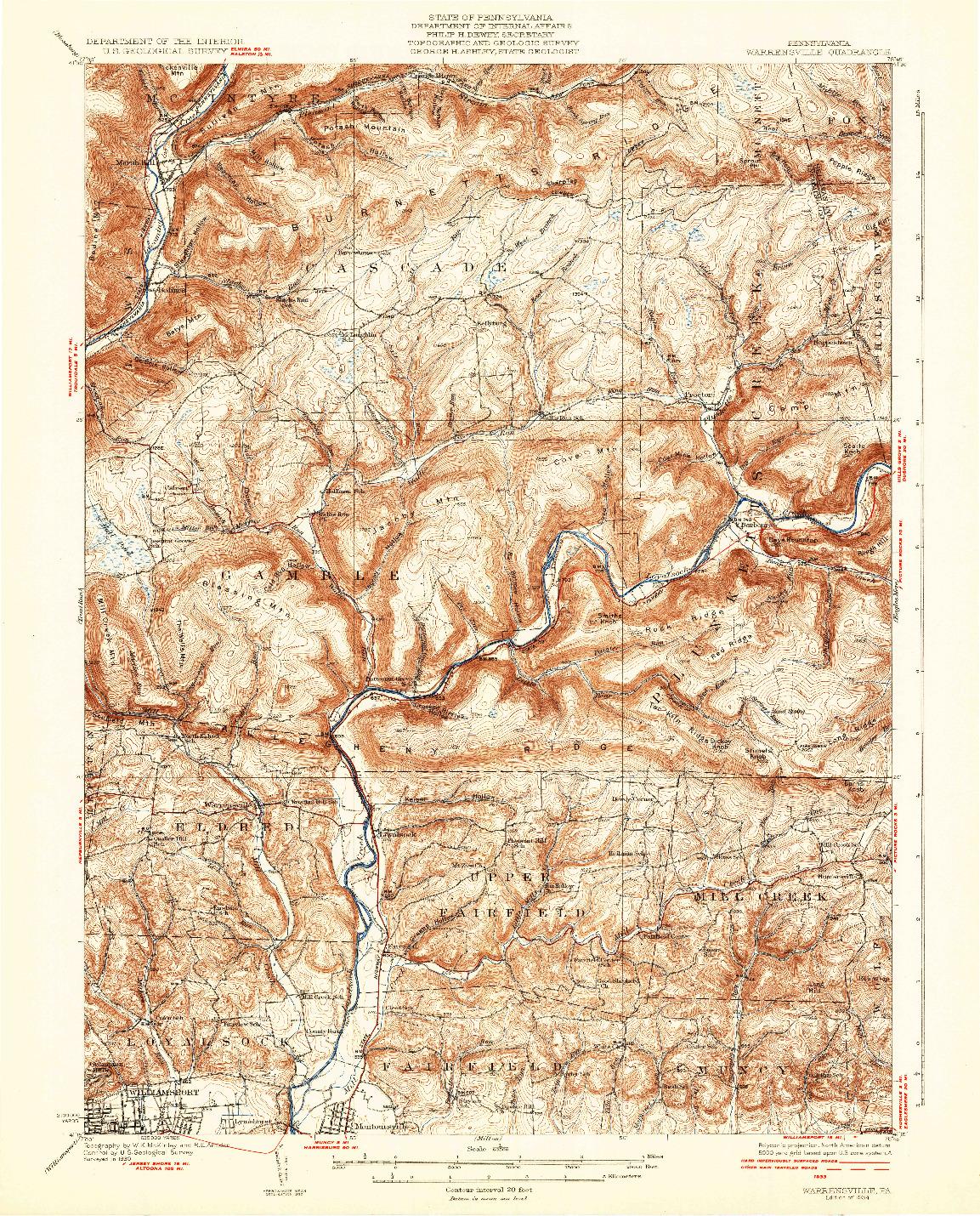 USGS 1:62500-SCALE QUADRANGLE FOR WARRENSVILLE, PA 1934