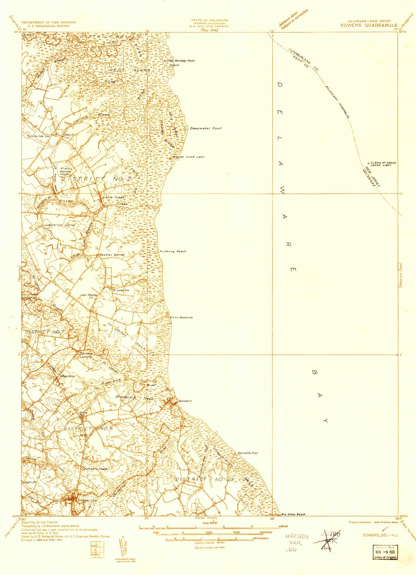 USGS 1:48000-SCALE QUADRANGLE FOR BOWERS, DE 1934