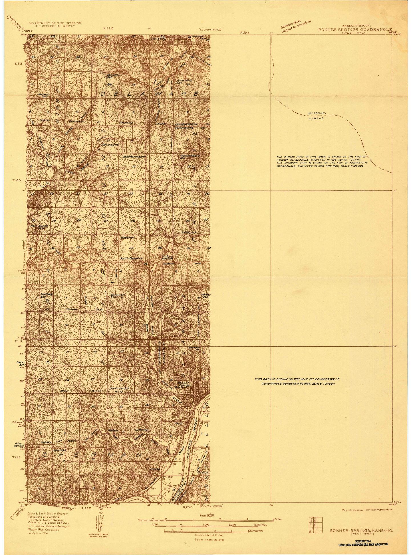 USGS 1:48000-SCALE QUADRANGLE FOR BONNER SPRINGS, KS 1934