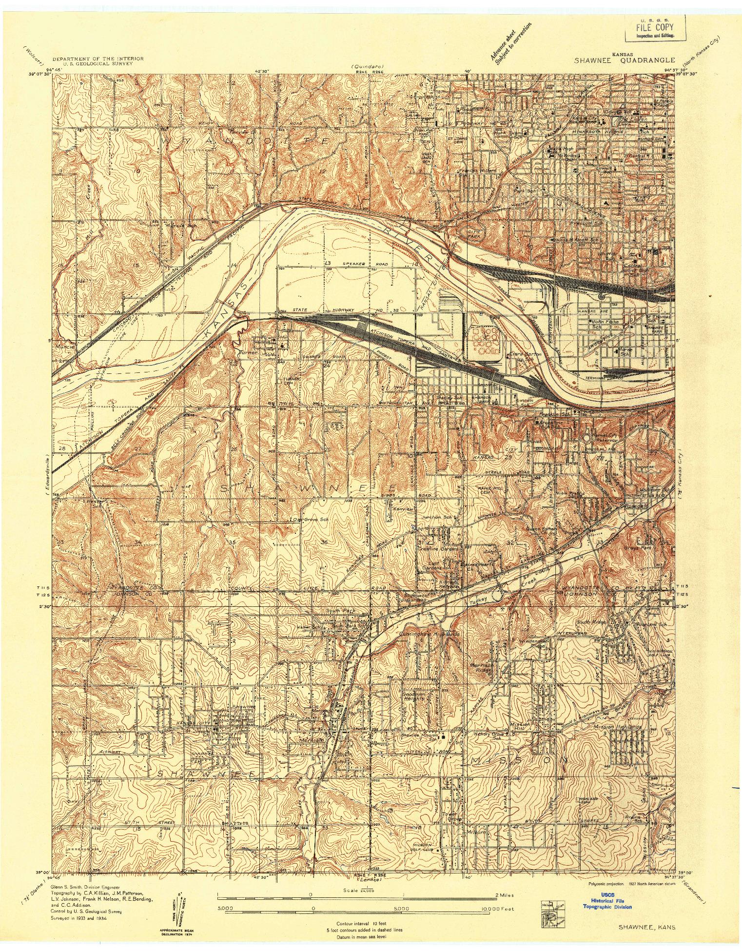 USGS 1:24000-SCALE QUADRANGLE FOR SHAWNEE, KS 1934