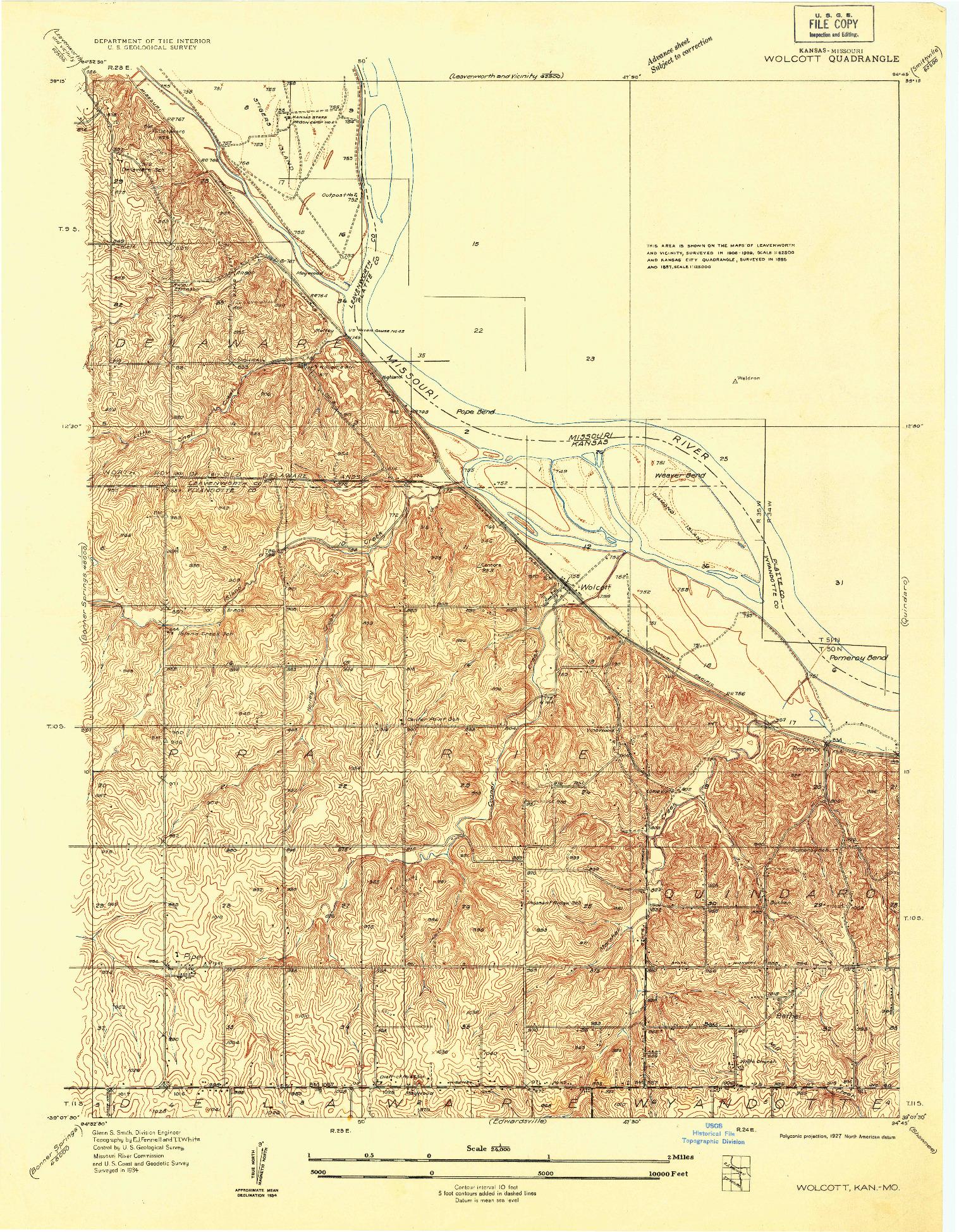 USGS 1:24000-SCALE QUADRANGLE FOR WOLCOTT, KS 1934