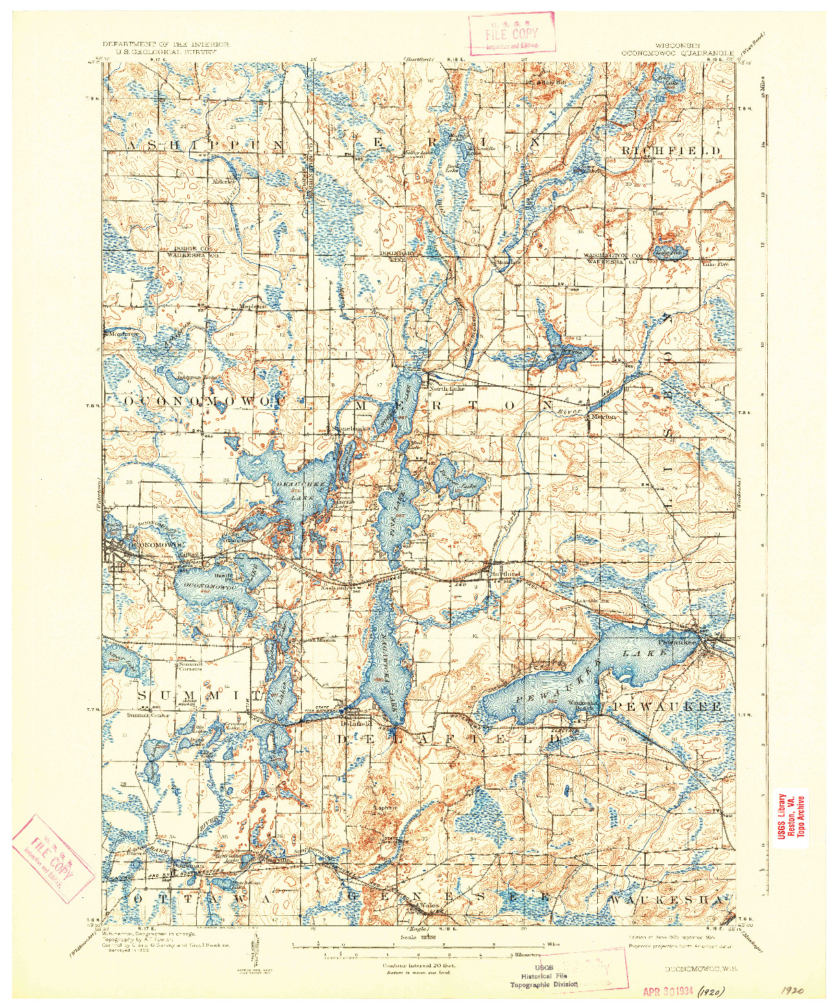 USGS 1:62500-SCALE QUADRANGLE FOR OCONOMOWOC, WI 1909
