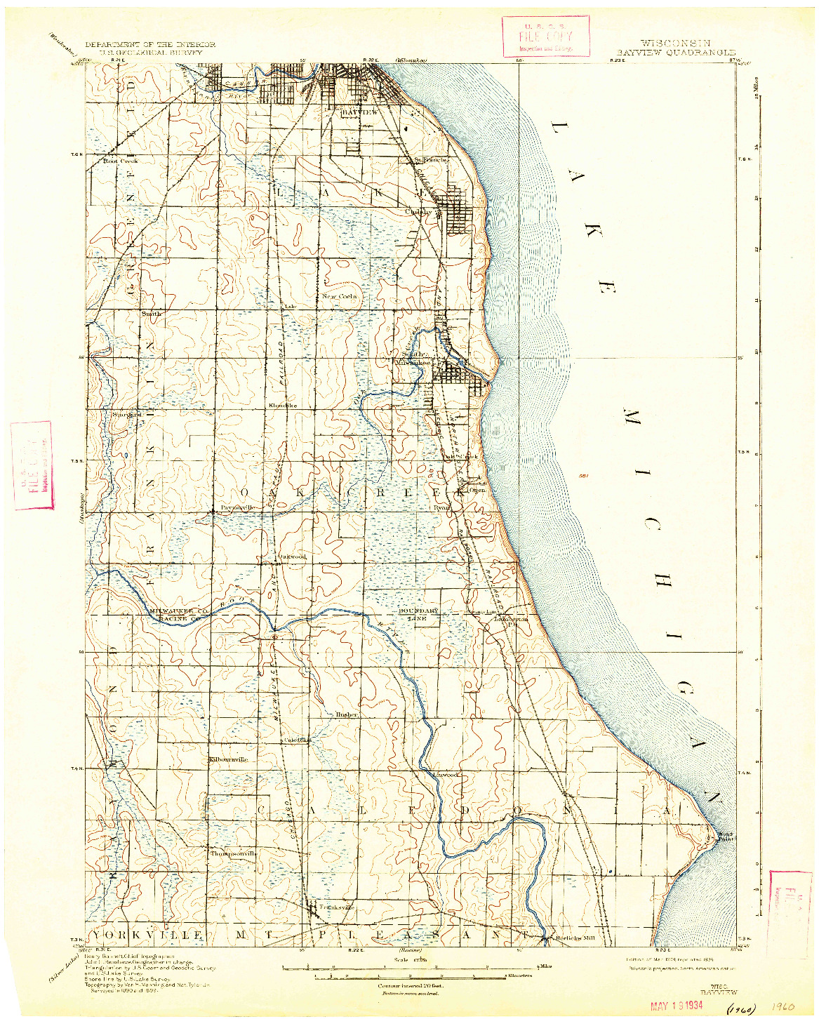 USGS 1:62500-SCALE QUADRANGLE FOR BAYVIEW, WI 1901