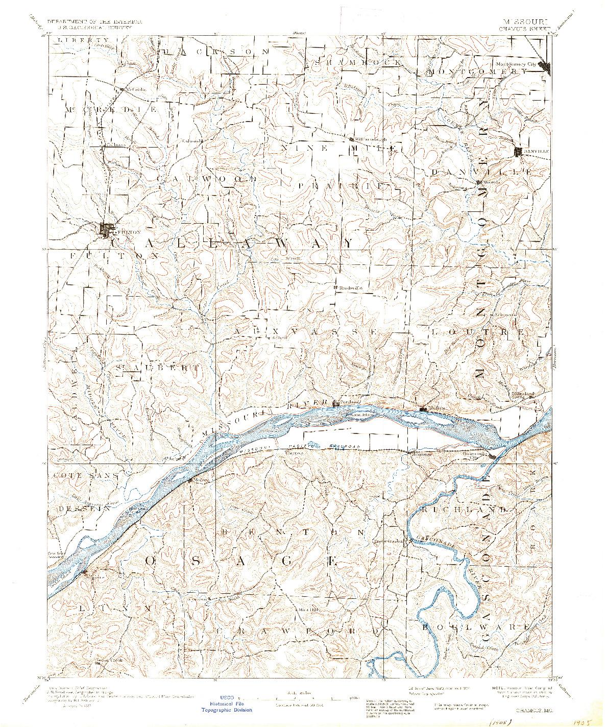 USGS 1:125000-SCALE QUADRANGLE FOR CHAMOIS, MO 1890