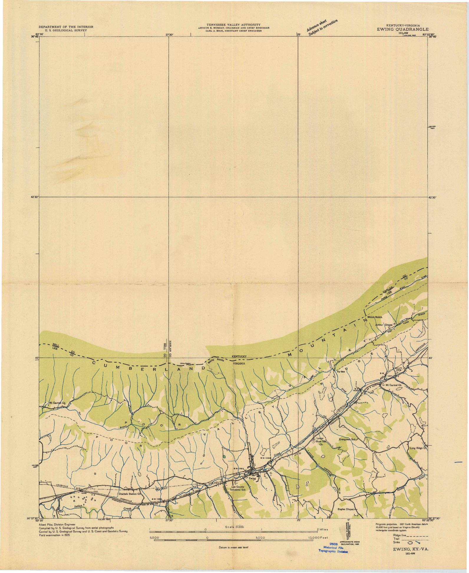 USGS 1:24000-SCALE QUADRANGLE FOR EWING, KY 1935