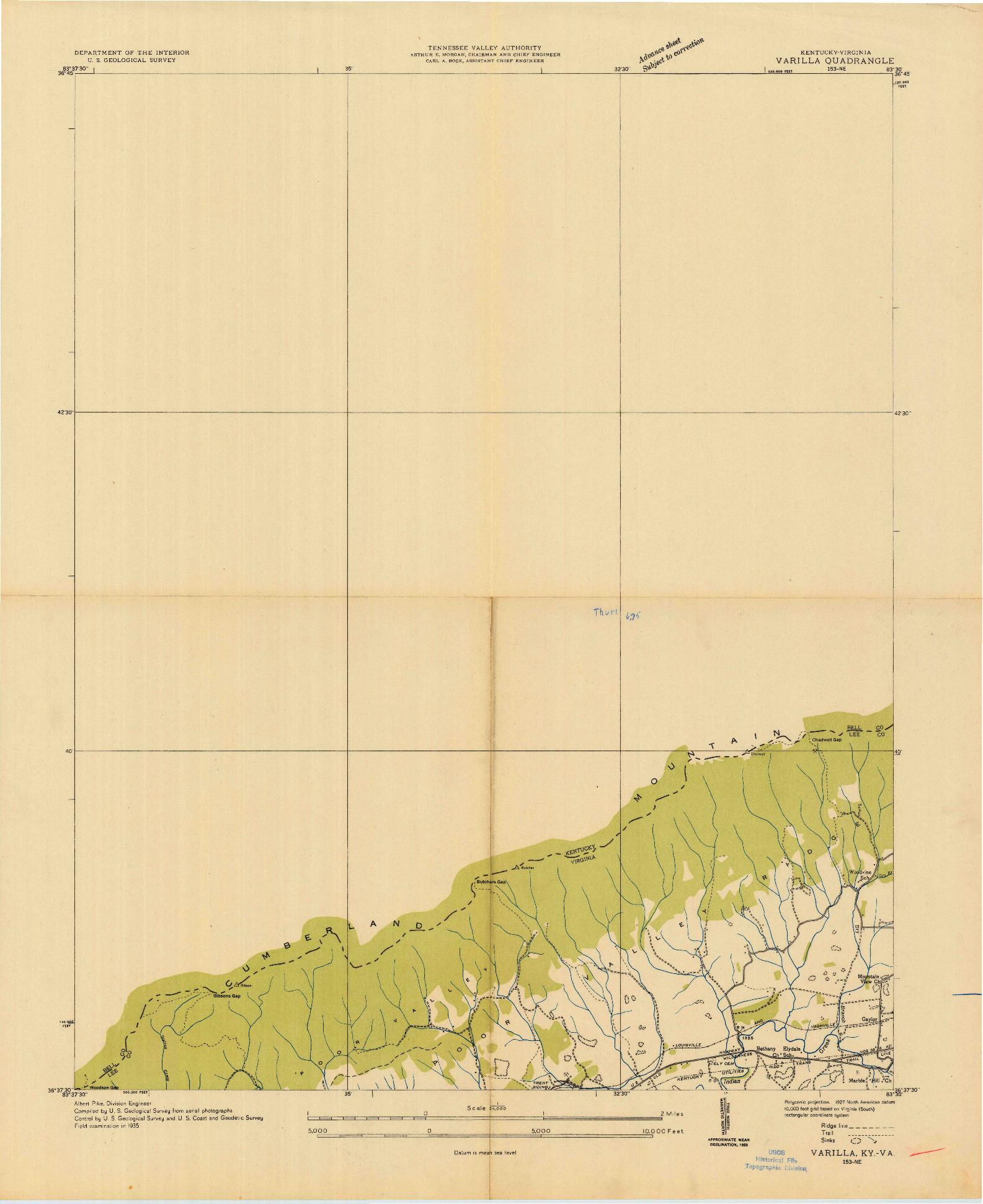 USGS 1:24000-SCALE QUADRANGLE FOR VARILLA, KY 1935