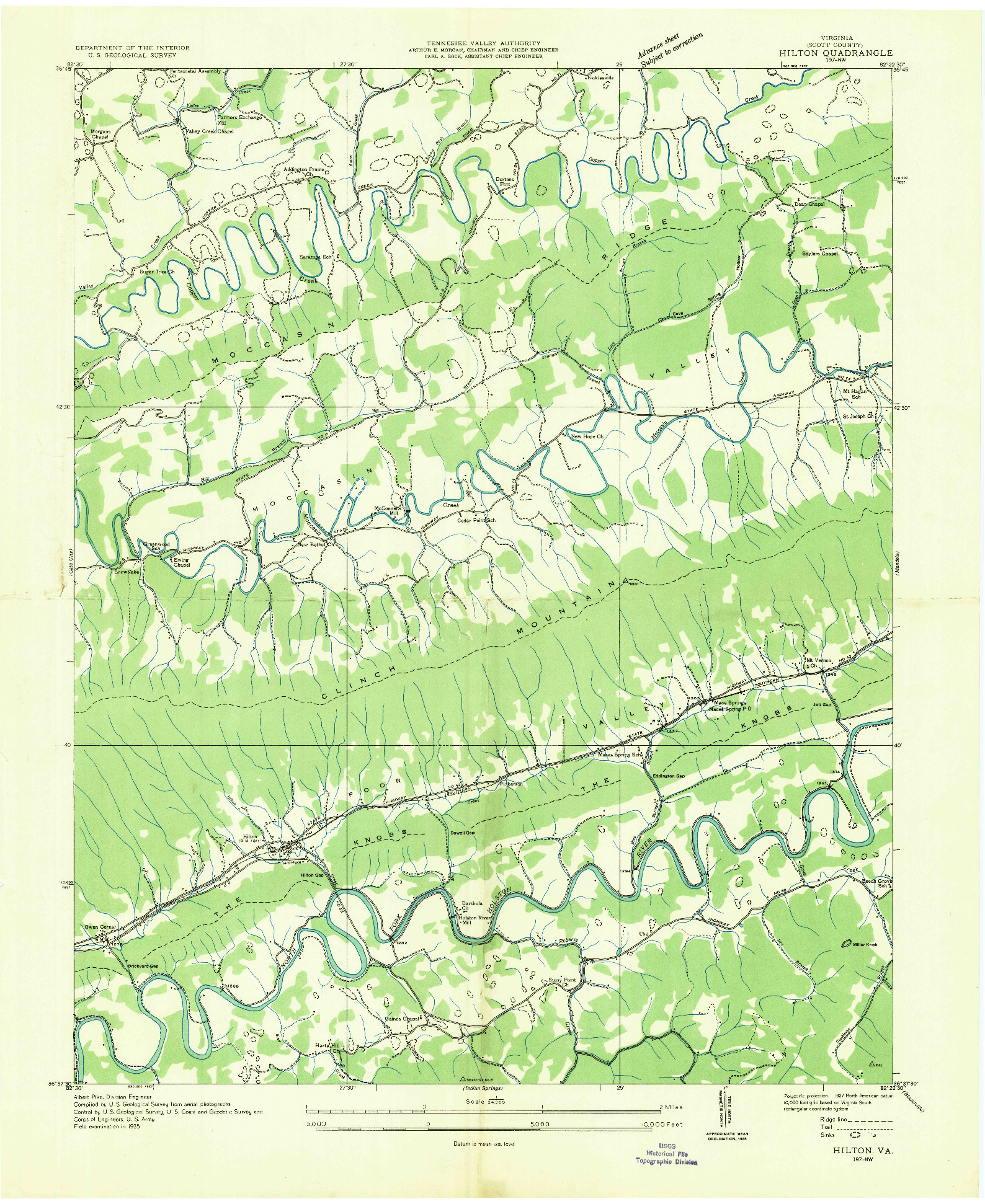 USGS 1:24000-SCALE QUADRANGLE FOR HILTON, VA 1935