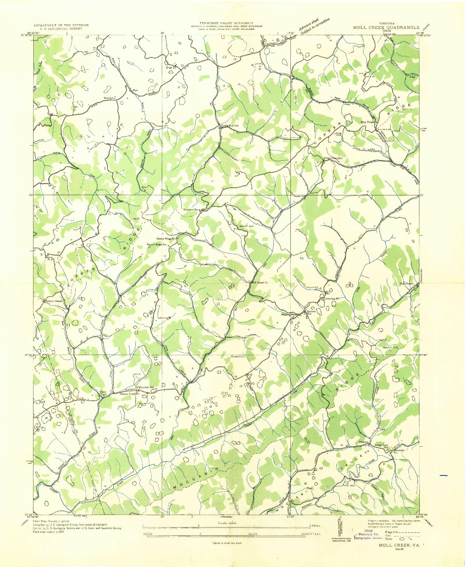 USGS 1:24000-SCALE QUADRANGLE FOR MOLL CREEK, VA 1935