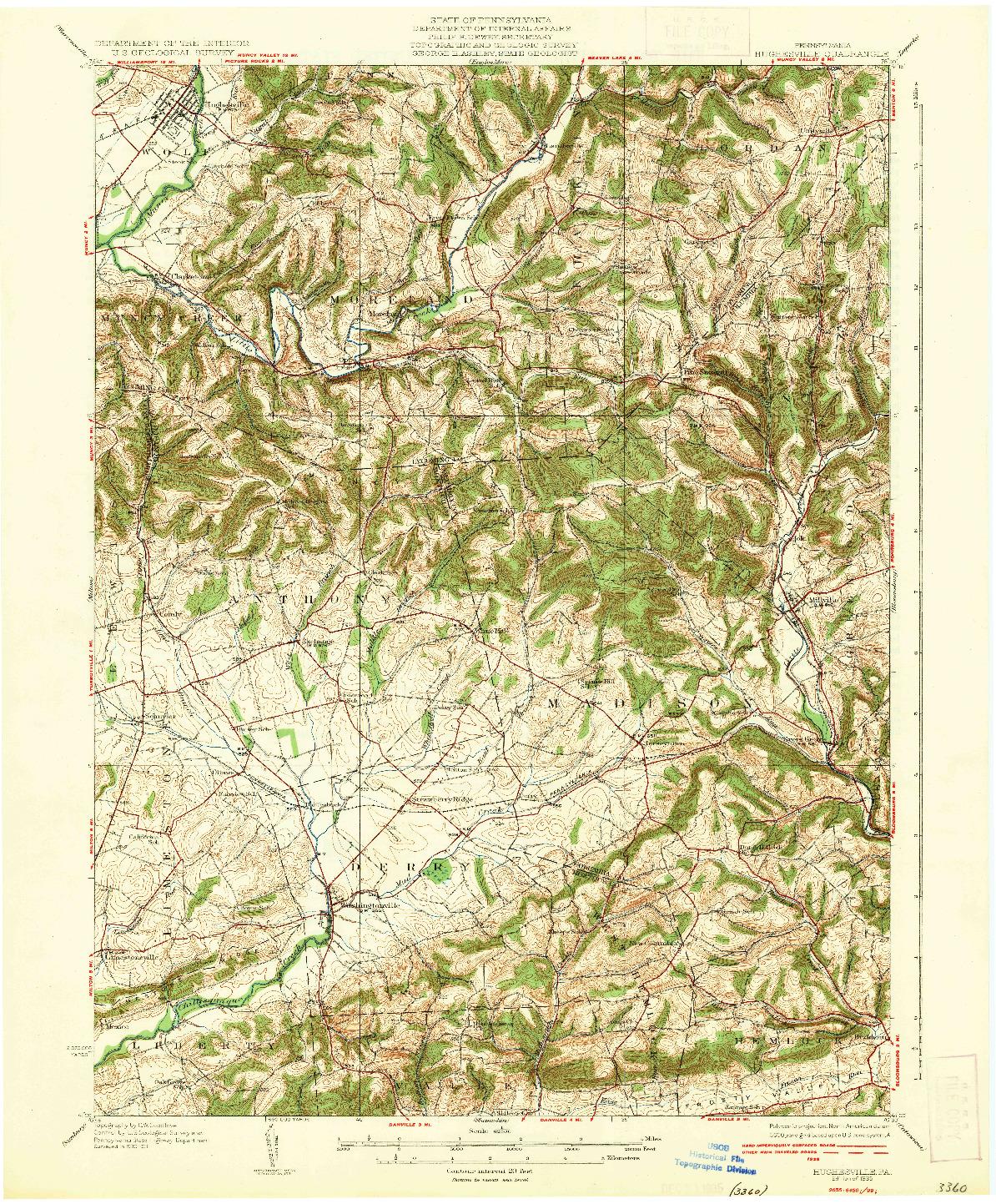 USGS 1:62500-SCALE QUADRANGLE FOR HUGHESVILLE, PA 1935