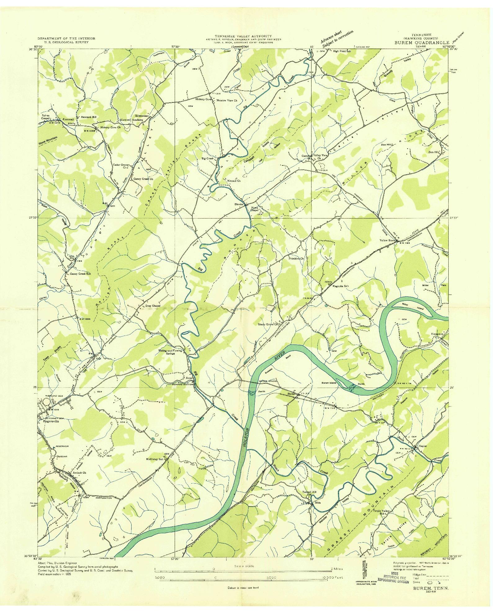 USGS 1:24000-SCALE QUADRANGLE FOR BUREM, TN 1935