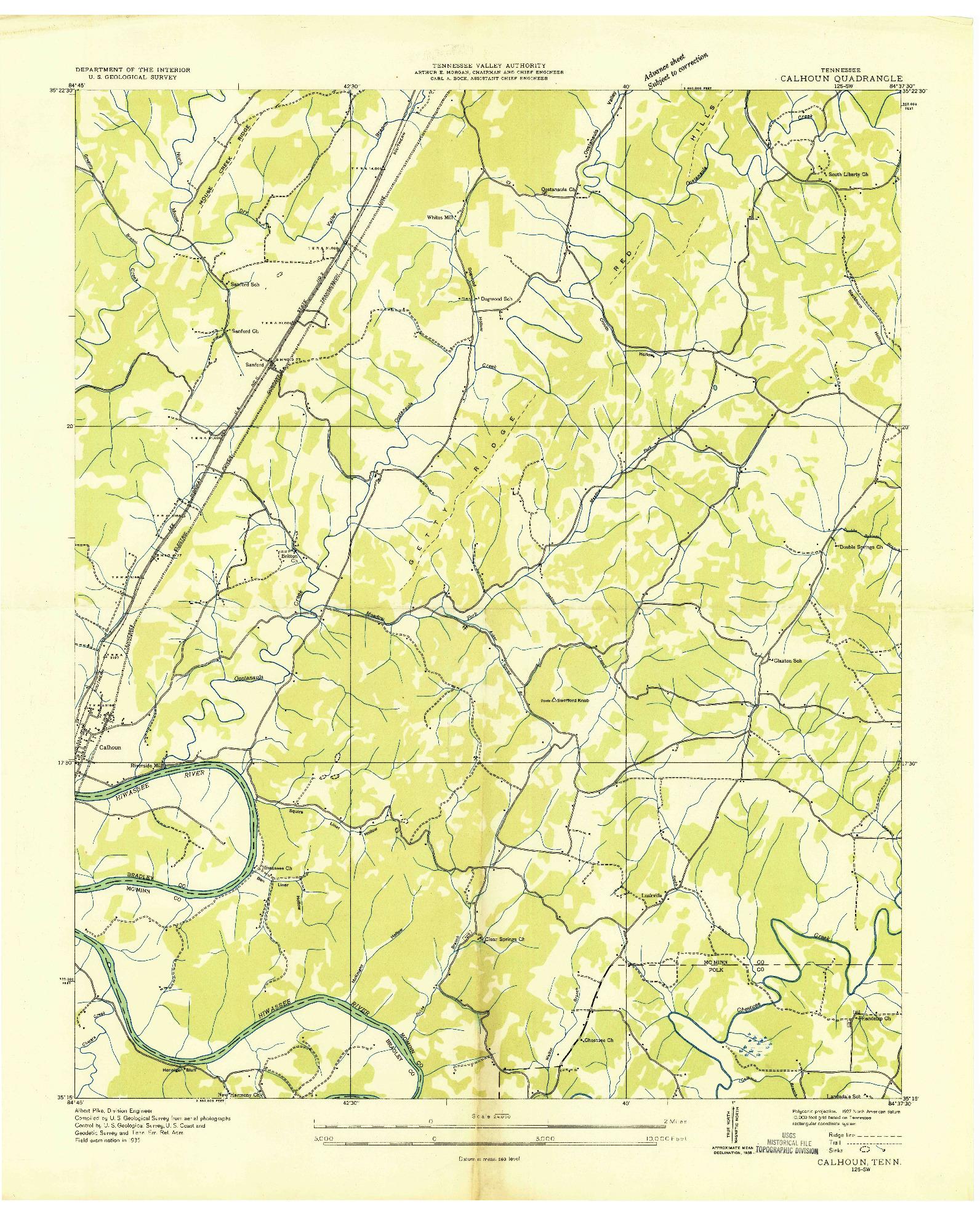 USGS 1:24000-SCALE QUADRANGLE FOR CALHOUN, TN 1935