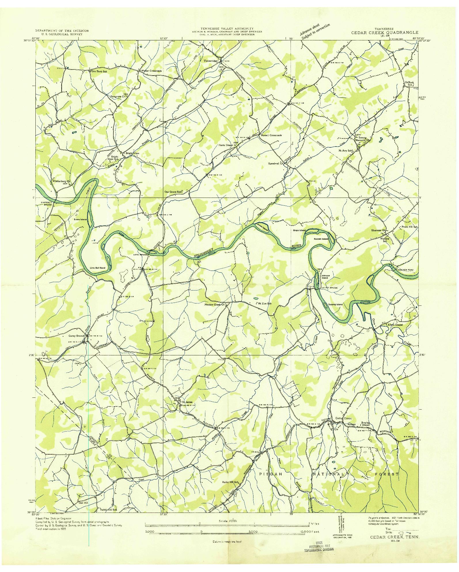 USGS 1:24000-SCALE QUADRANGLE FOR CEDAR CREEK, TN 1935