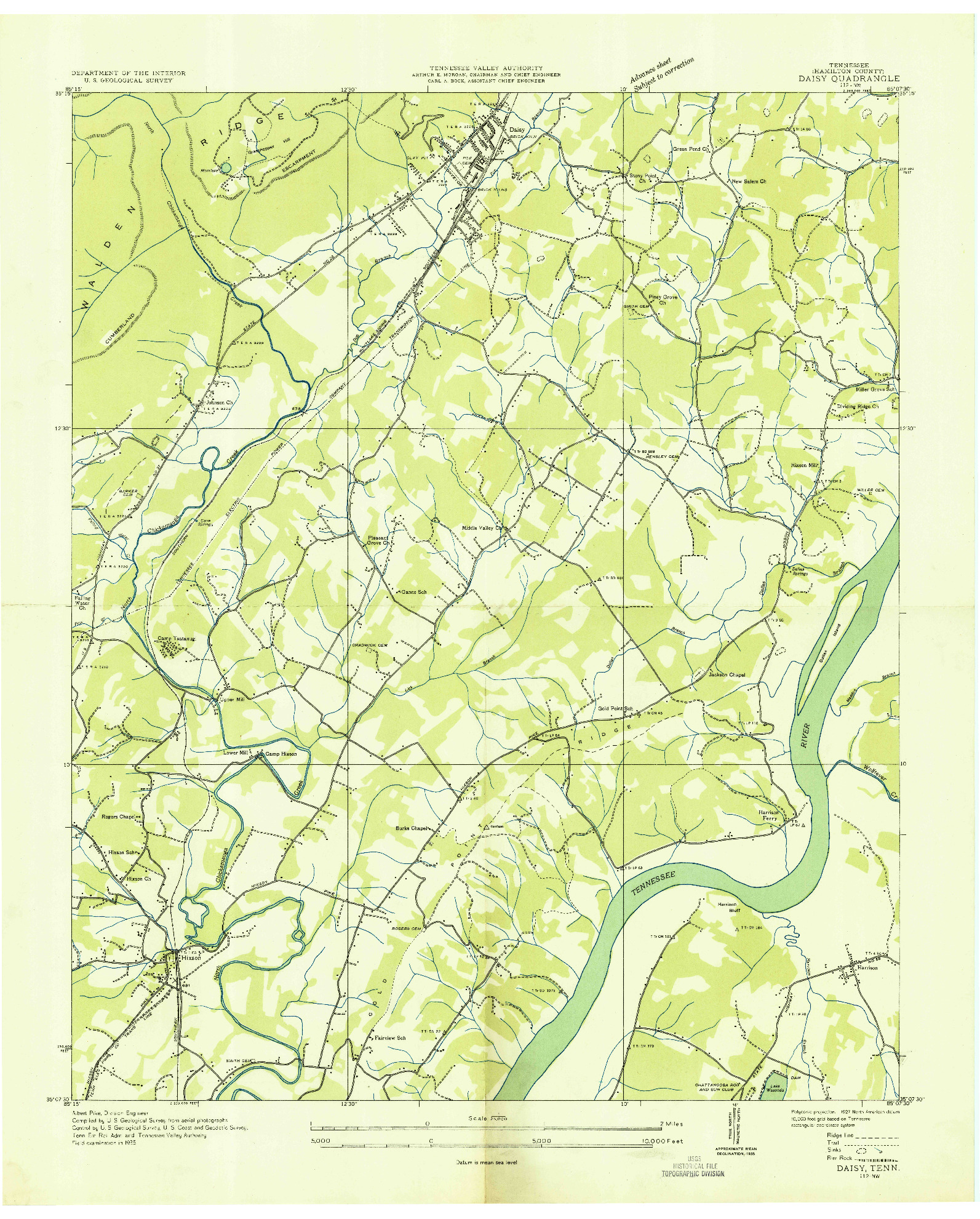 USGS 1:24000-SCALE QUADRANGLE FOR DAISY, TN 1935