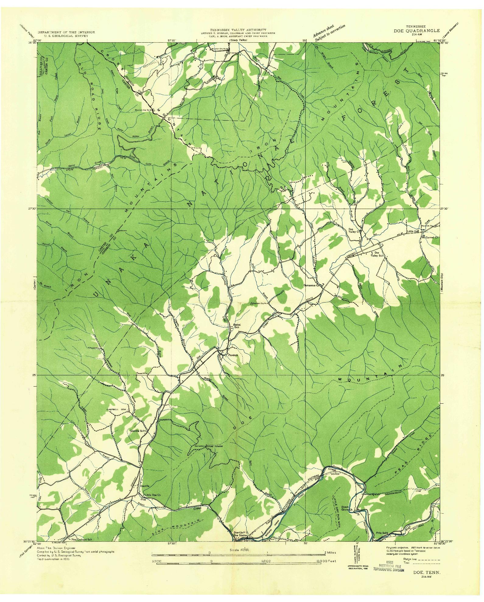 USGS 1:24000-SCALE QUADRANGLE FOR DOE, TN 1935