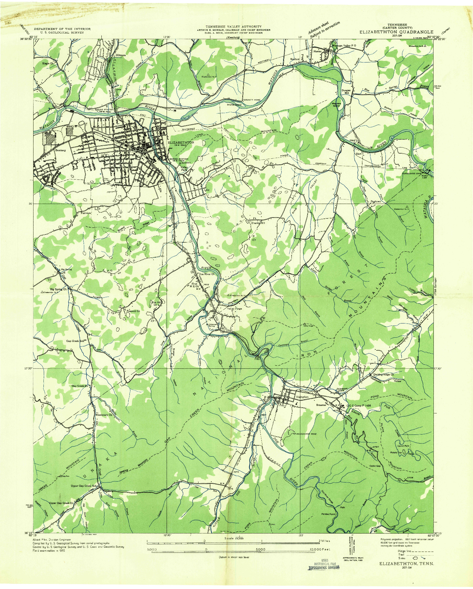 USGS 1:24000-SCALE QUADRANGLE FOR ELIZABETHTON, TN 1935