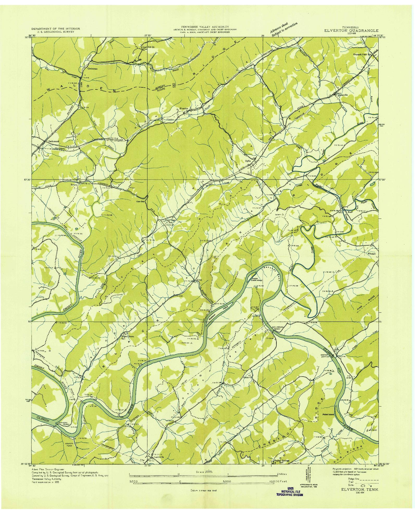 USGS 1:24000-SCALE QUADRANGLE FOR ELVERTON, TN 1935