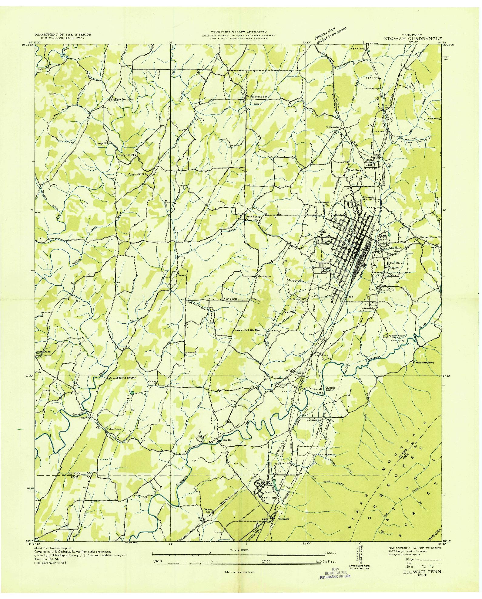 USGS 1:24000-SCALE QUADRANGLE FOR ETOWAH, TN 1935