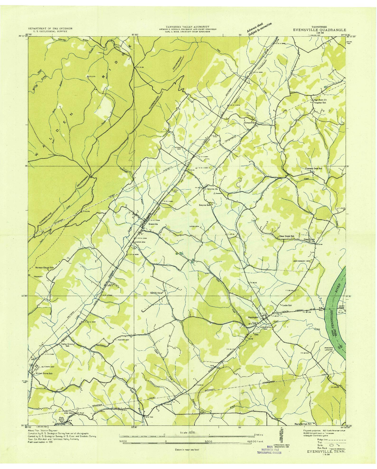 USGS 1:24000-SCALE QUADRANGLE FOR EVENSVILLE, TN 1935