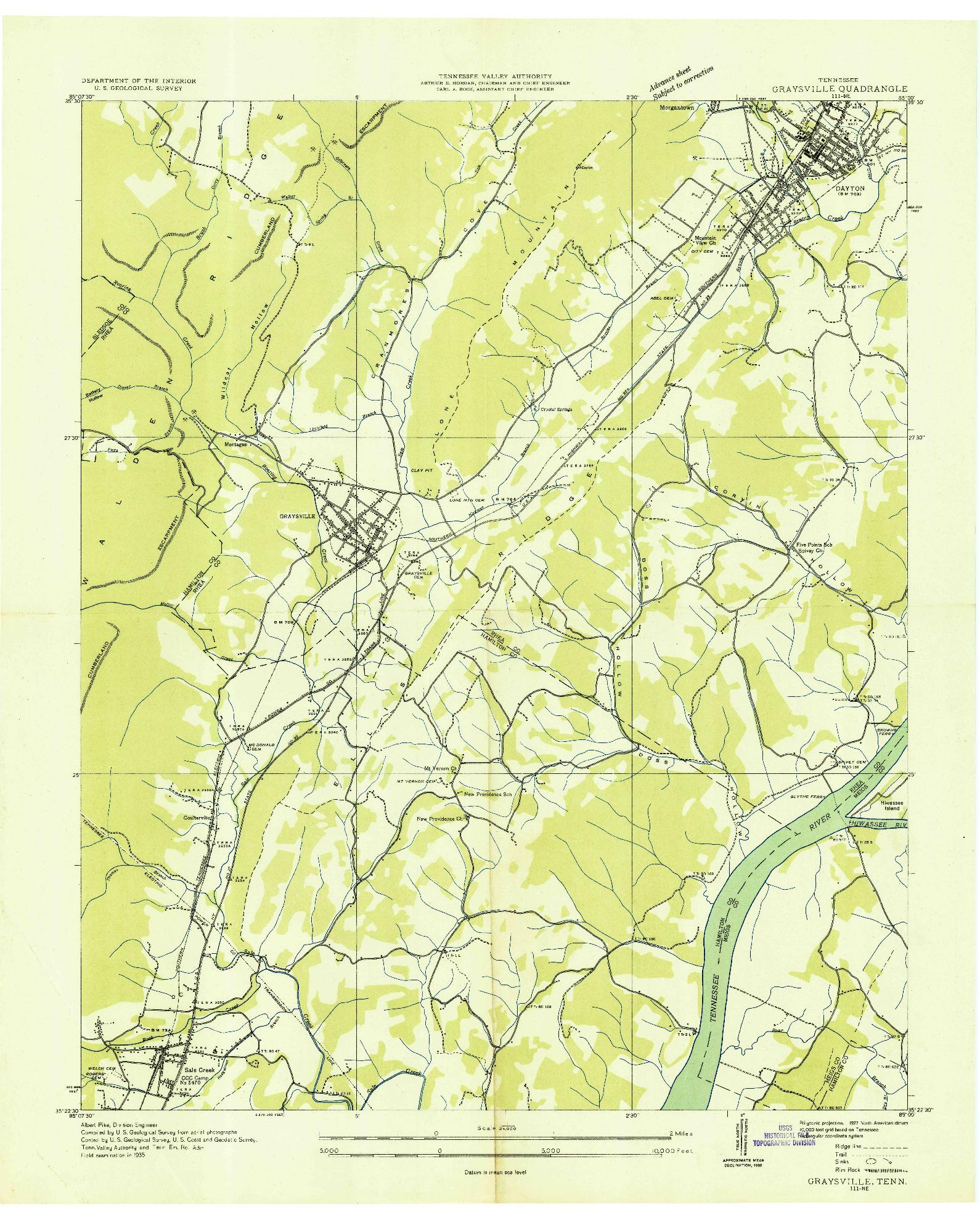 USGS 1:24000-SCALE QUADRANGLE FOR GRAYSVILLE, TN 1935