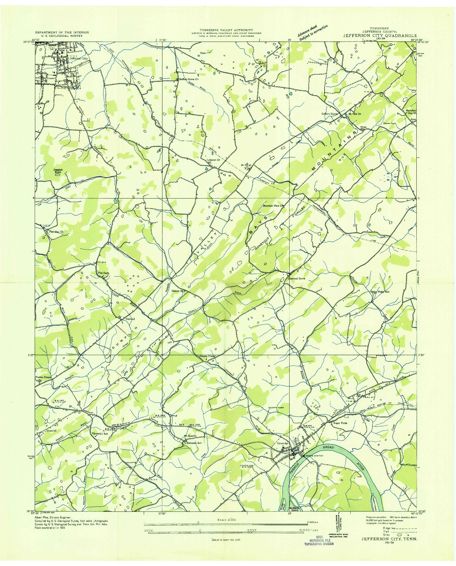 USGS 1:24000-SCALE QUADRANGLE FOR JEFFERSON CITY, TN 1935