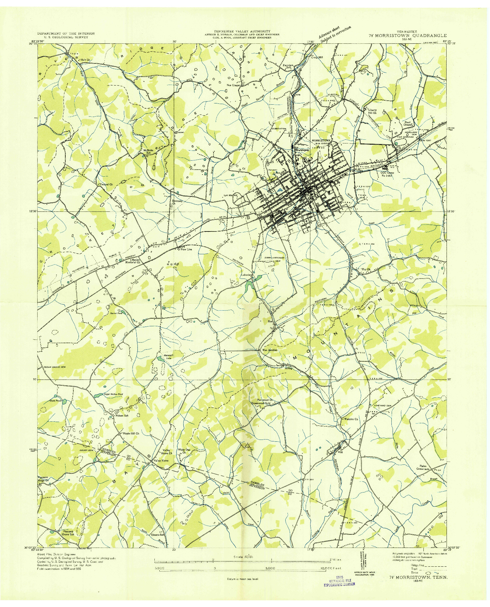USGS 1:24000-SCALE QUADRANGLE FOR MORRISTOWN, TN 1935