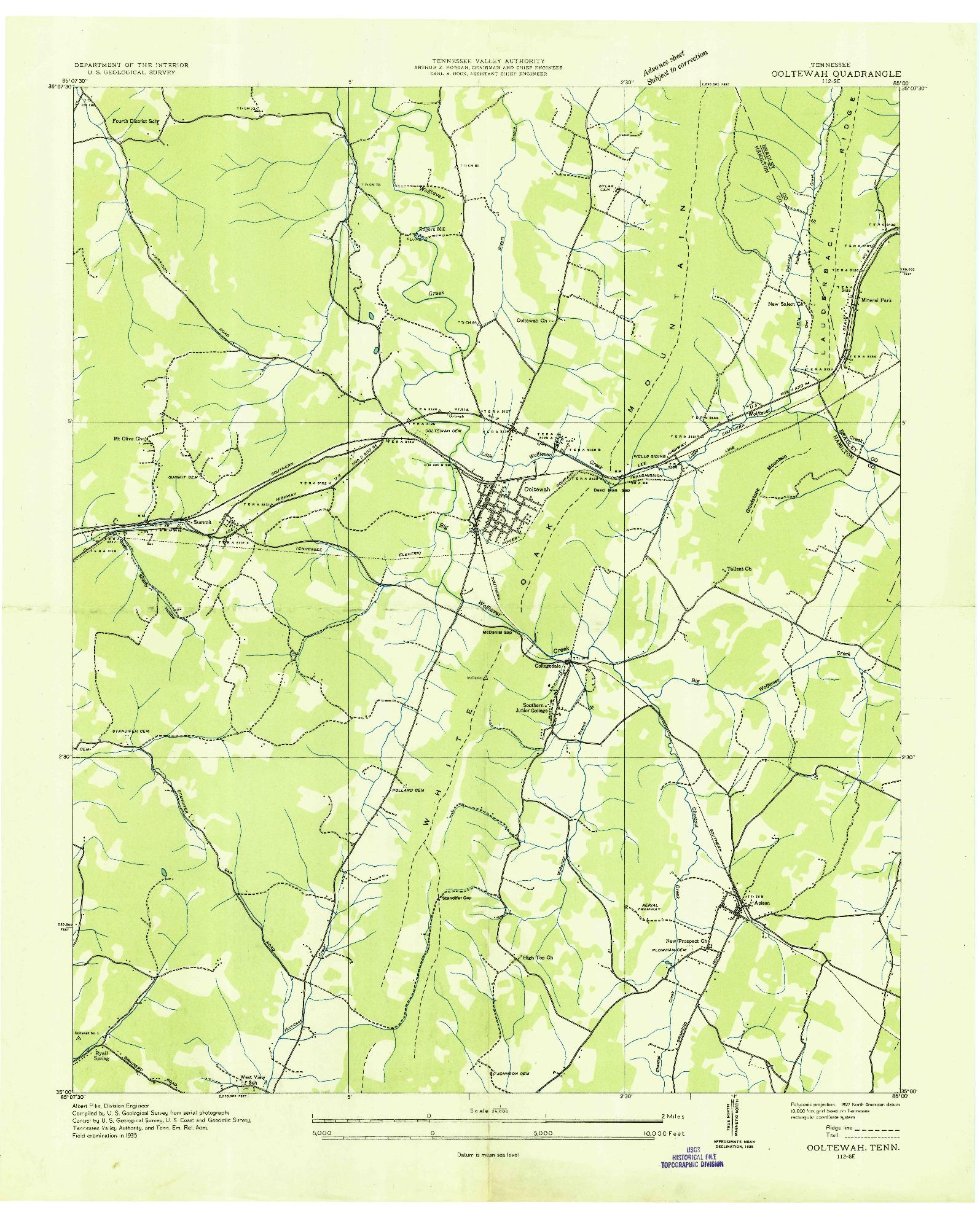 USGS 1:24000-SCALE QUADRANGLE FOR OOLTEWAH, TN 1935