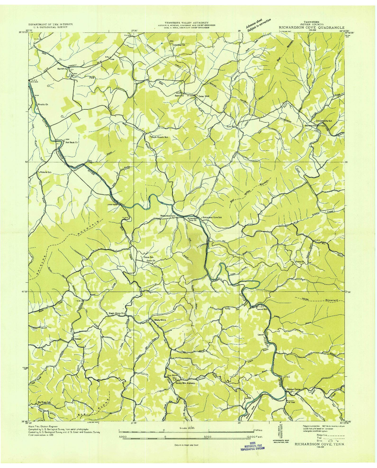 USGS 1:24000-SCALE QUADRANGLE FOR RICHARDSON COVE, TN 1935