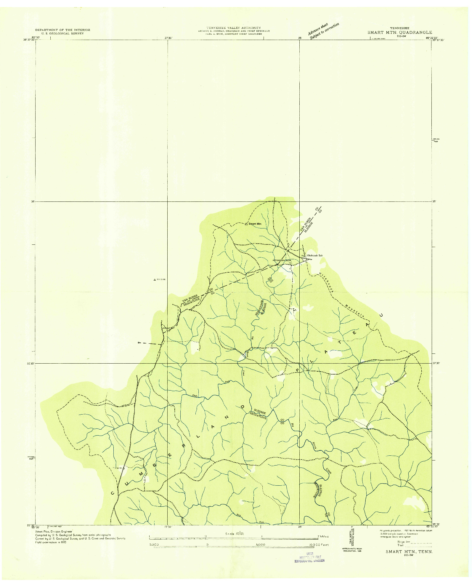 USGS 1:24000-SCALE QUADRANGLE FOR SMART MOUNTAIN, TN 1935