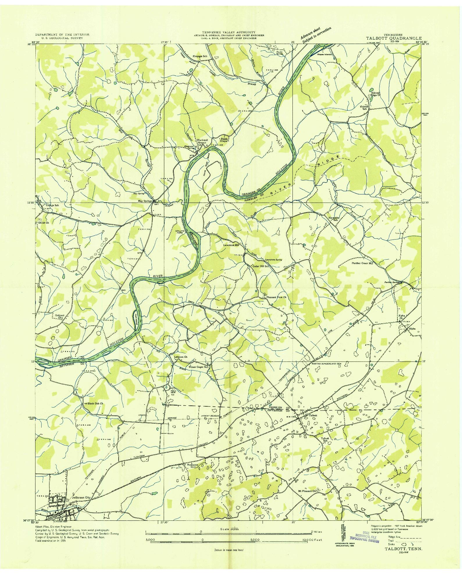 USGS 1:24000-SCALE QUADRANGLE FOR TALBOTT, TN 1935