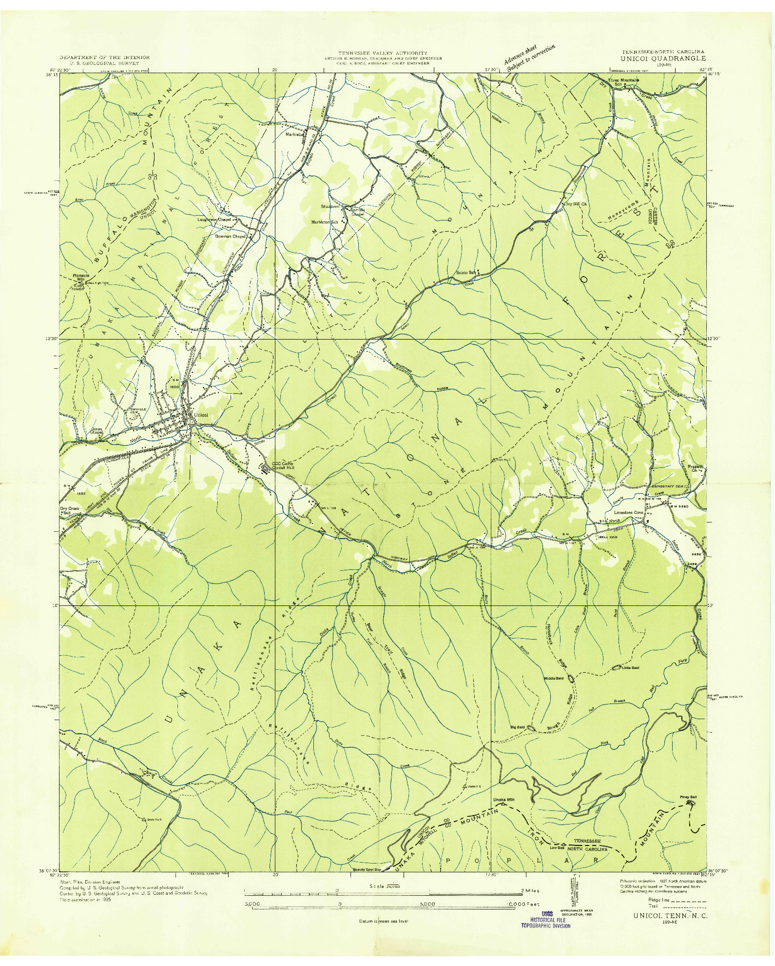 USGS 1:24000-SCALE QUADRANGLE FOR UNICOI, TN 1935