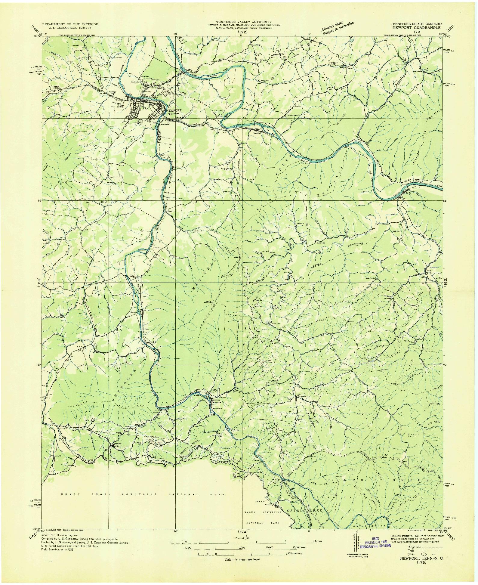 USGS 1:48000-SCALE QUADRANGLE FOR NEWPORT, TN 1935
