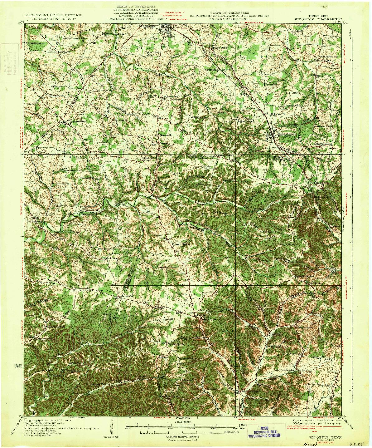 USGS 1:62500-SCALE QUADRANGLE FOR RIDGETOP, TN 1935