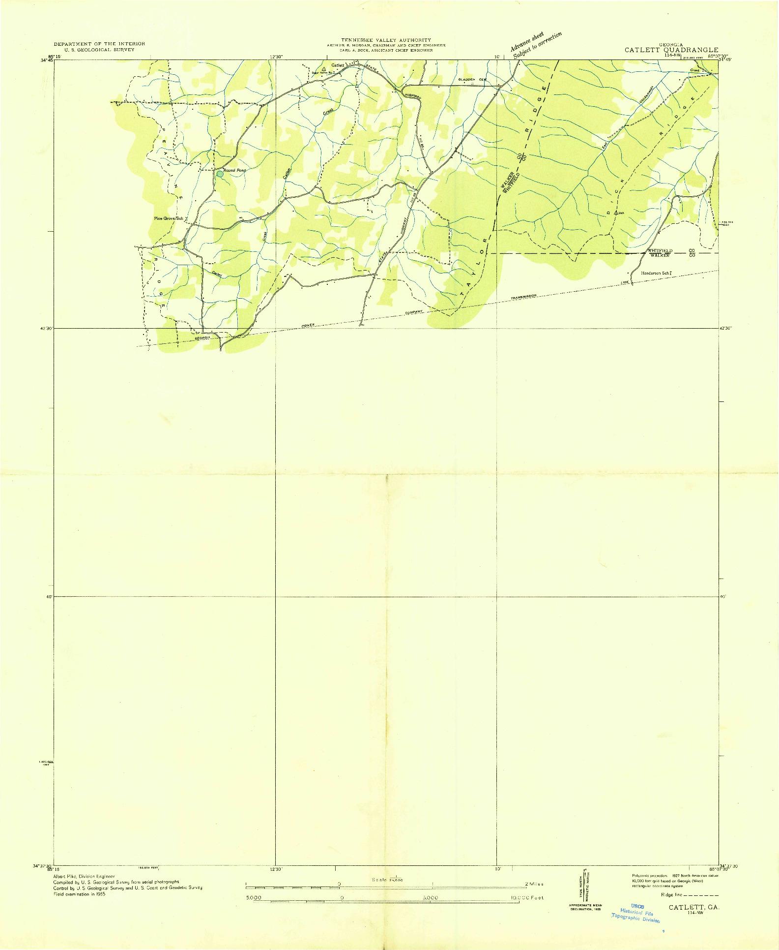 USGS 1:24000-SCALE QUADRANGLE FOR CATLETT, GA 1935