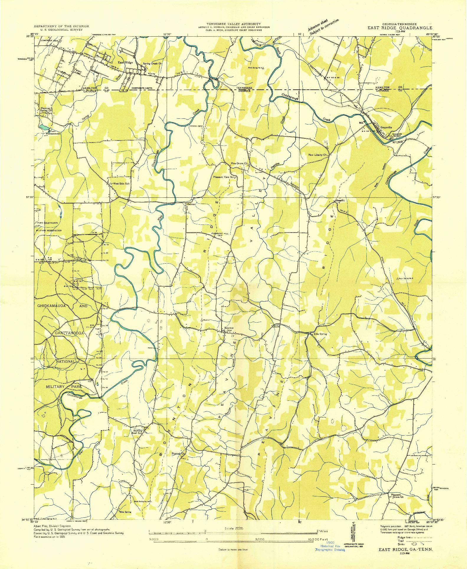 USGS 1:24000-SCALE QUADRANGLE FOR EAST RIDGE, GA 1935