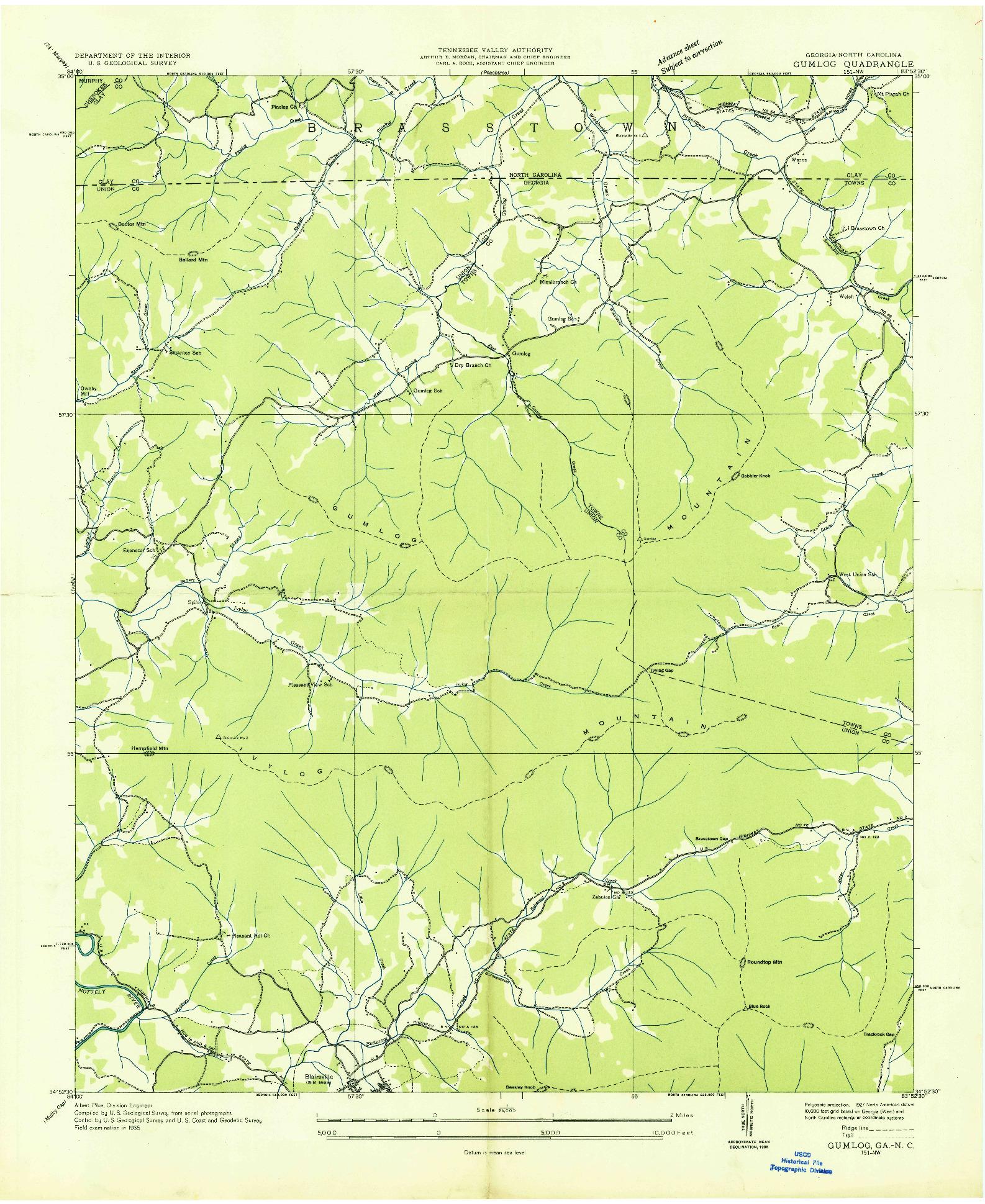 USGS 1:24000-SCALE QUADRANGLE FOR GUMLOG, GA 1935