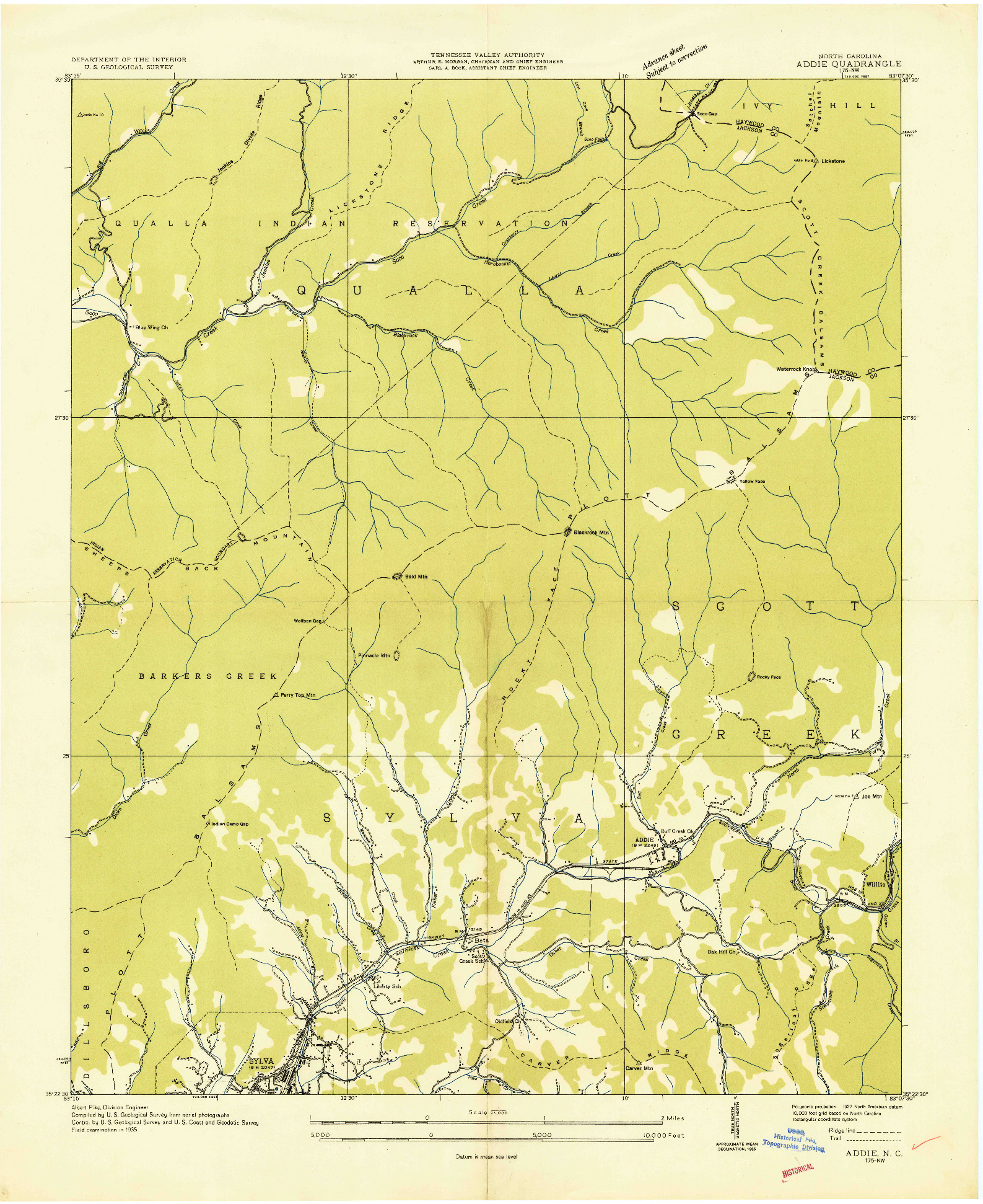 USGS 1:24000-SCALE QUADRANGLE FOR ADDIE, NC 1935