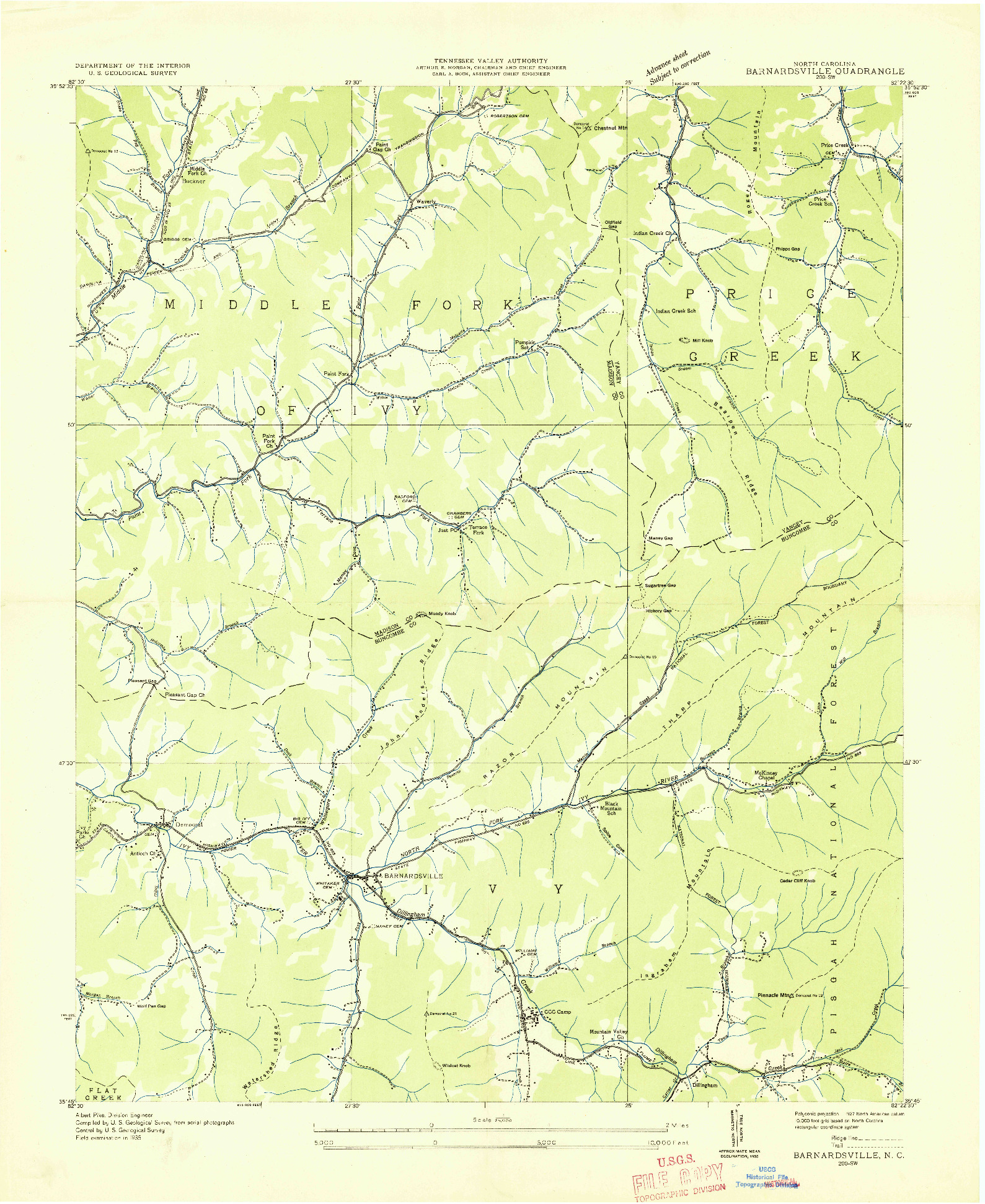 USGS 1:24000-SCALE QUADRANGLE FOR BARNARDSVILLE, NC 1935
