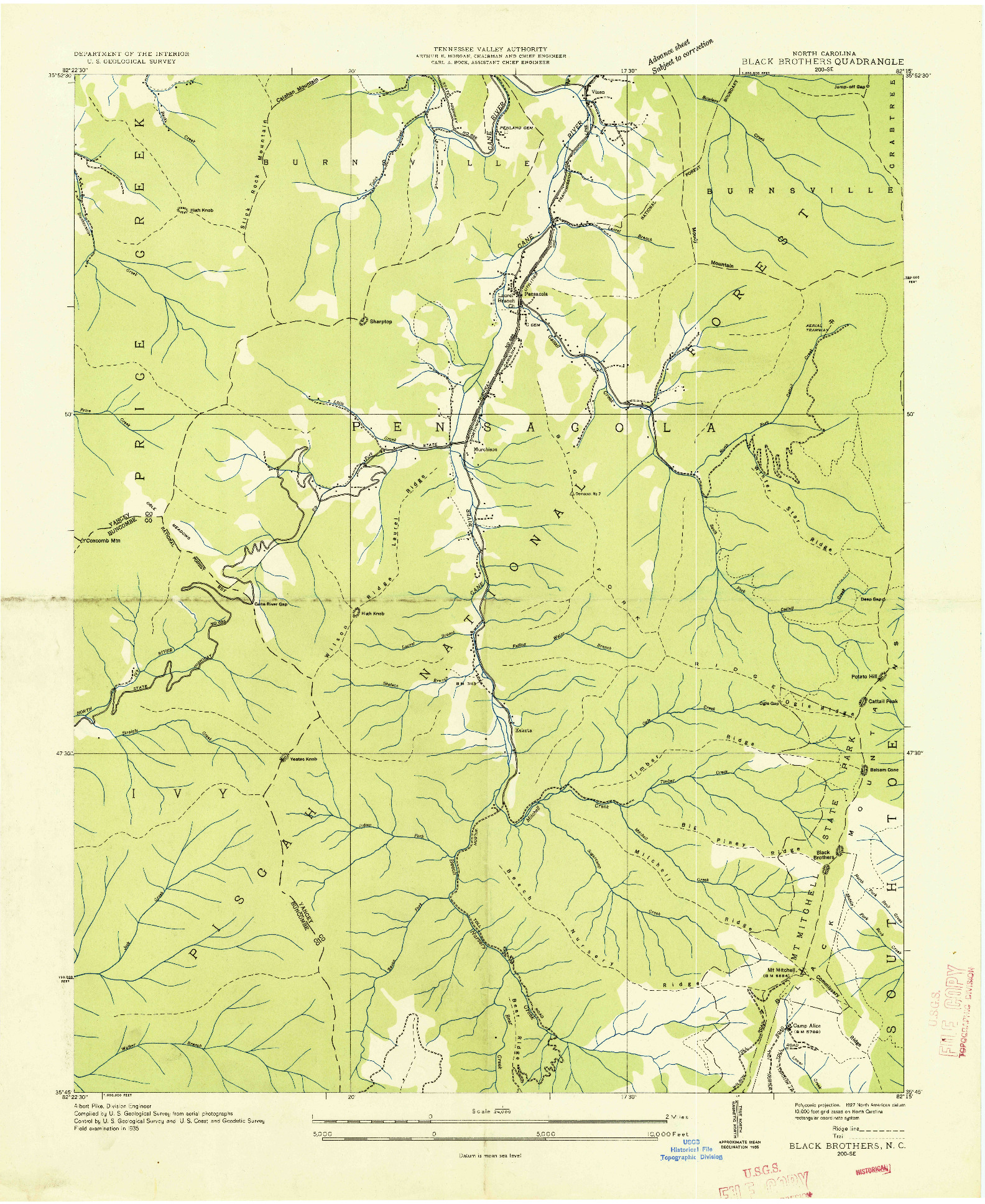 USGS 1:24000-SCALE QUADRANGLE FOR BLACK BROTHERS, NC 1935