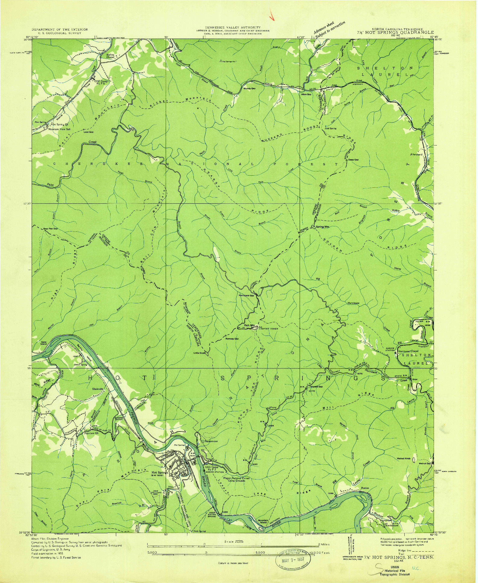 USGS 1:24000-SCALE QUADRANGLE FOR HOT SPRINGS, NC 1935
