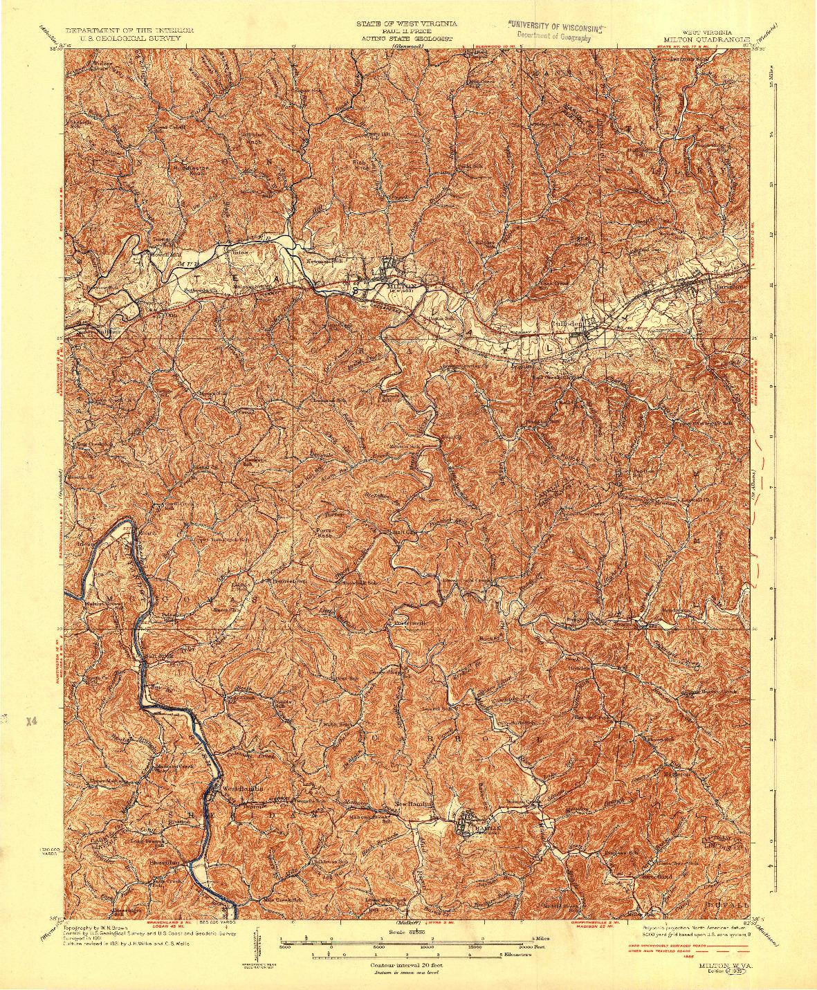 USGS 1:62500-SCALE QUADRANGLE FOR MILTON, WV 1935