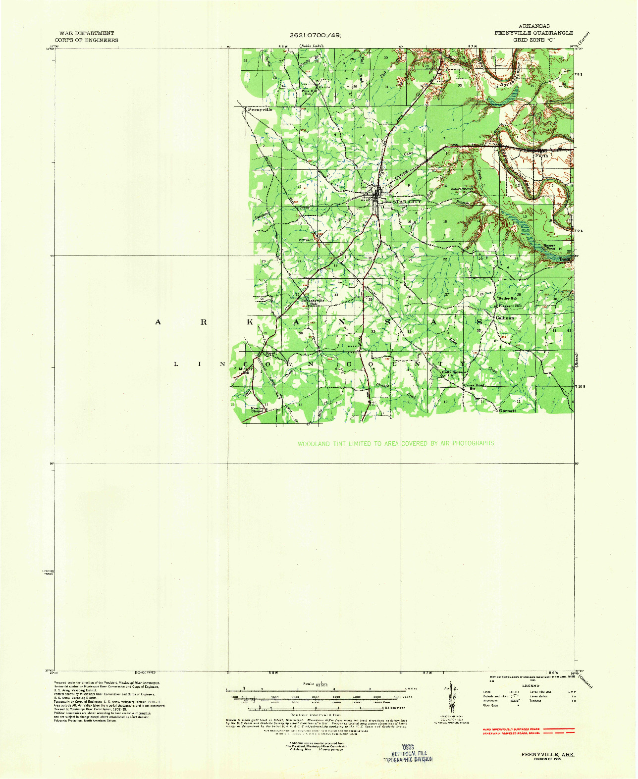 USGS 1:62500-SCALE QUADRANGLE FOR FEENYVILLE, AR 1935