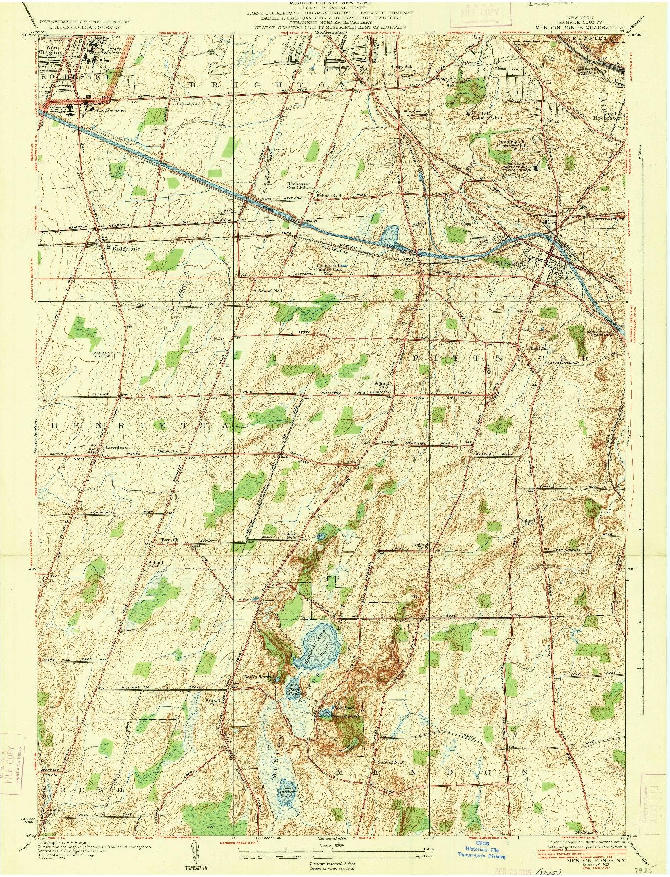 USGS 1:24000-SCALE QUADRANGLE FOR MENDON PONDS, NY 1935