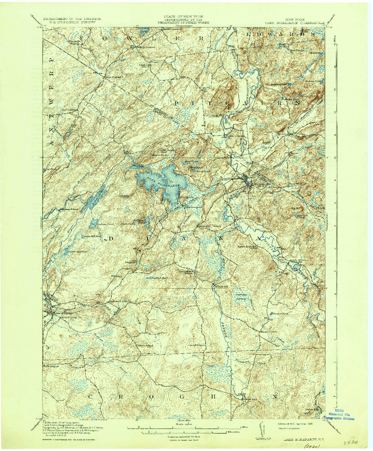 USGS 1:62500-SCALE QUADRANGLE FOR LAKE BONAPARTE, NY 1916