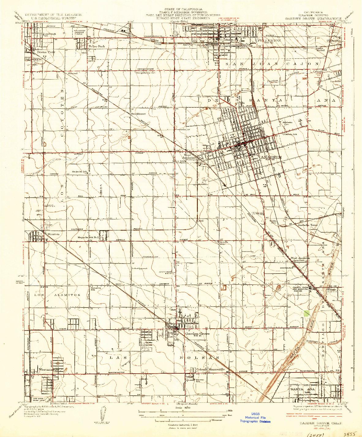 USGS 1:31680-SCALE QUADRANGLE FOR GARDEN GROVE, CA 1935
