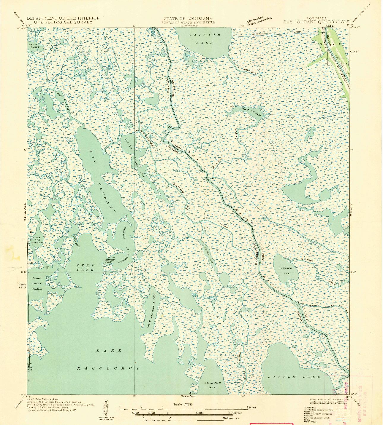 USGS 1:31680-SCALE QUADRANGLE FOR BAY COURANT, LA 1935
