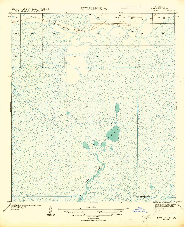 USGS 1:31680-SCALE QUADRANGLE FOR FIVE LAKES, LA 1935