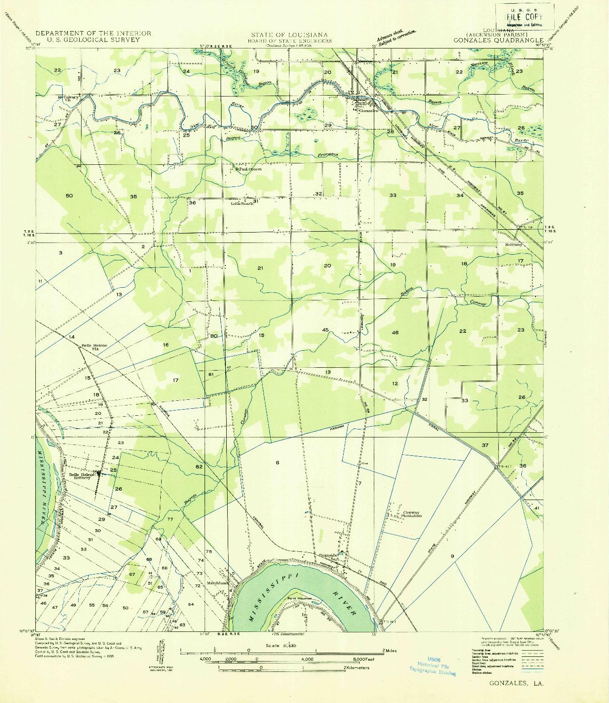 USGS 1:31680-SCALE QUADRANGLE FOR GONZALES, LA 1935
