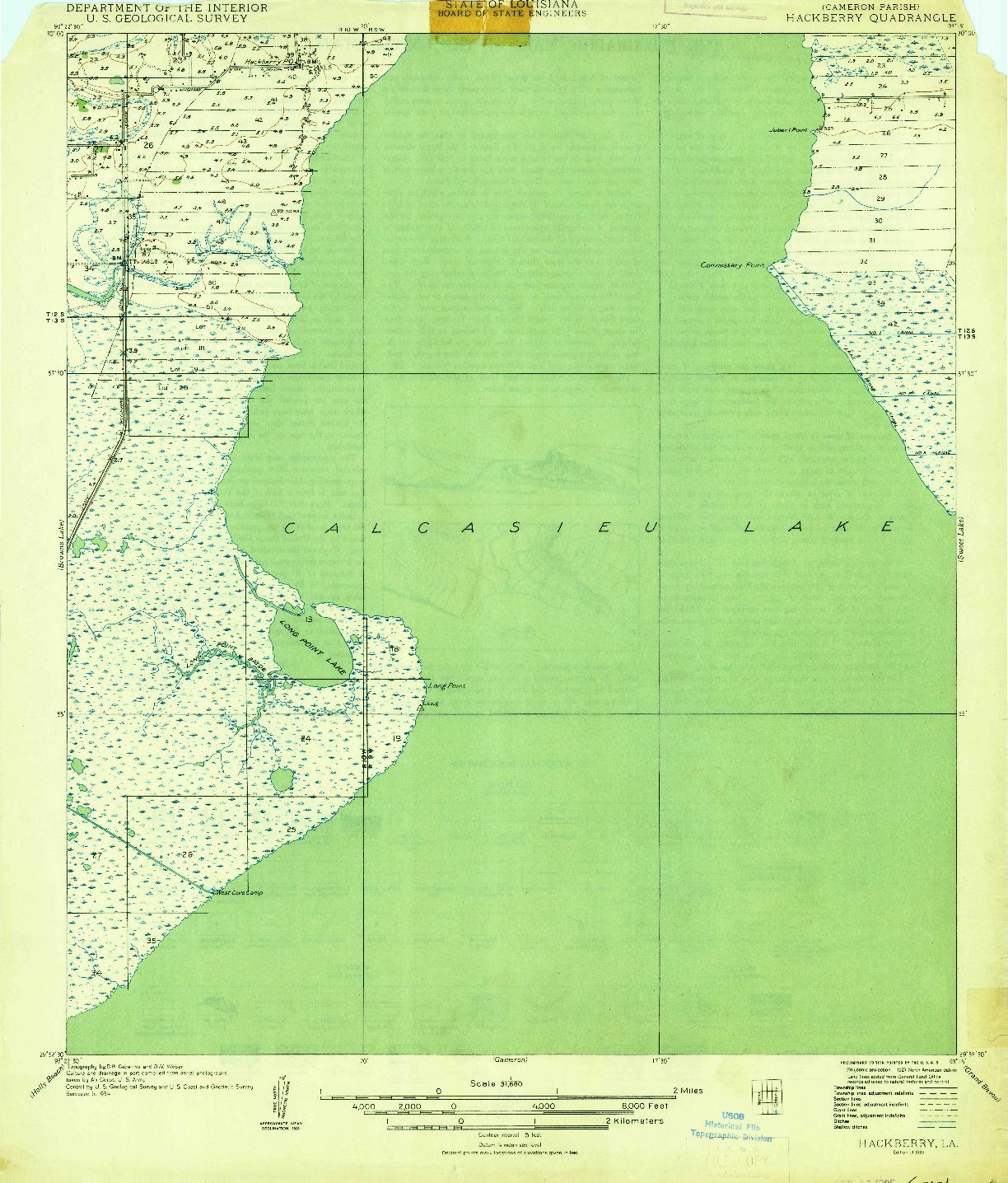 USGS 1:31680-SCALE QUADRANGLE FOR HACKBERRY, LA 1935